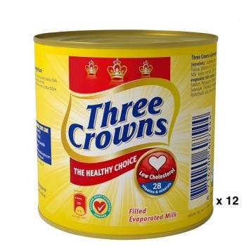 Three Crowns Evaporated Milk tin 160g  x 12