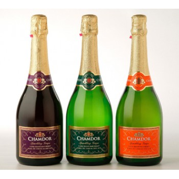 Chamdor Non-Alcoholic Sparkling wine (red wine, grapes & peach) 750ml x 3pcs