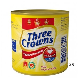 Three Crowns Evaporated Milk tin 160g  x 6