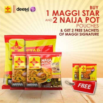 1 Maggi Star and 2 Naija Pot Pouches - Get 2 free sachets of Maggi Signature Jollof