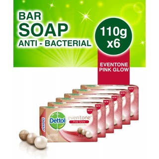 Dettol Eventone Pink Glow Bathing Soap 110g x 6